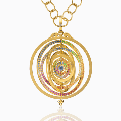 Dimensions: L: 69mm/2.75''; W: 47.5mm/1.9'' Stone Details: Blue Sapphire:2.06cts; Ruby:0.38cts; Medium Orange Sapphire:0.62cts; Light Orange Sapphire:0.80cts; Light Green Sapphire:0.84cts; Tsavorite:0.66cts; Lavender Sapphire:0.46cts; Pink Sapphire:0.70cts; diamonds:0.135cts;