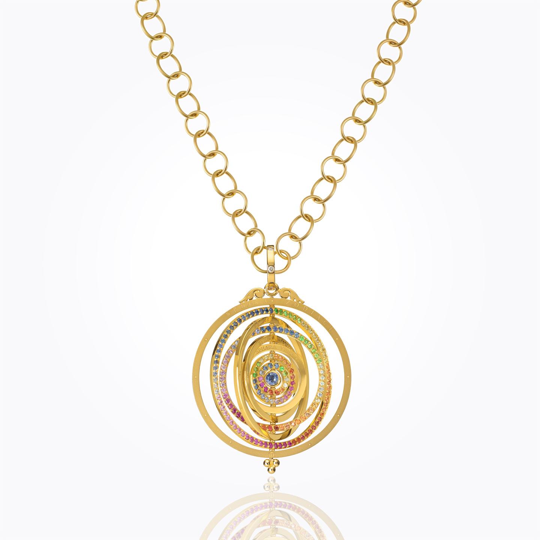 Pingente Tolomeo em Oito Anéis de 18K com safira mista e diamante -  alternate 8133e2e55f