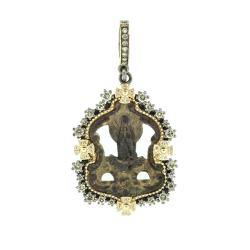 Closeup image for View Yellow Gold Ancient Bell With Crown Pendant By Cynthia Ann Jewels
