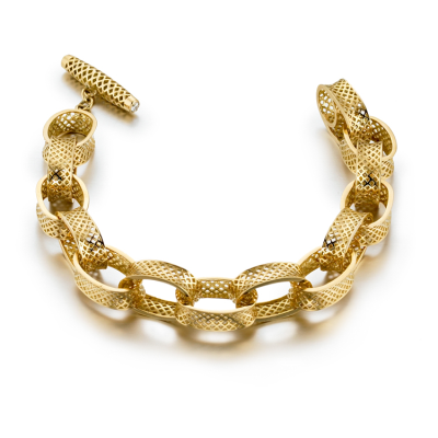 18K yellow gold large classic cable bracelet with 14 concave crownwork links and diamond set toggle. Length 8 DIA:0.16cts""