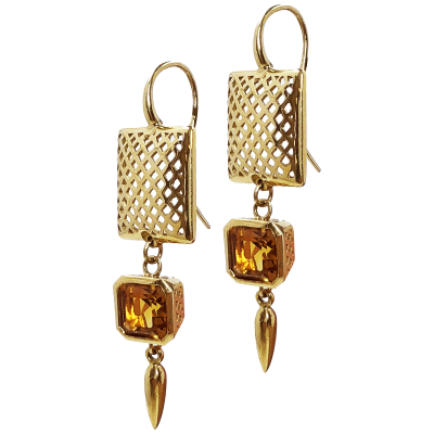 18K yellow gold 14mm crownwork square on hook earring with 7mm crownwork citrine set bezel and spear drop.