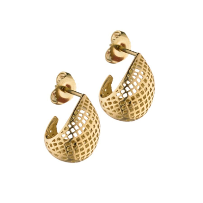 18k yellow gold crownwork pointed small egg huggie stud earrings. Length 0.5""