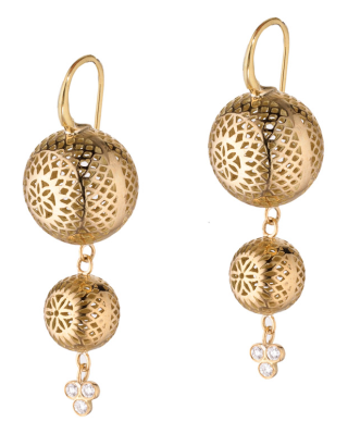 18k yellow gold 15mm and 10mm double drop crownwork ball earrings on hooks with triple diamonds. DIA:0.18cts