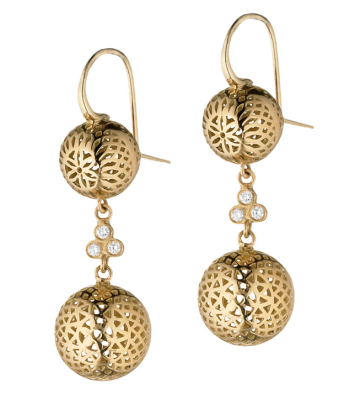 """18k yellow gold double 10mm + 12mm crownwork balls drop earrings and triple diamond at the center. Length - 1.25"""" DIA: 0.12cts"""