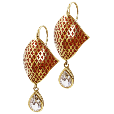Pilique A Jour Chinese red enamel and 18k yellow gold crownwork stingray earring on hook with 6x9 crownwork bezel set pear shape white topaz drops. Topaz: 2.60cts Length - 1.5""