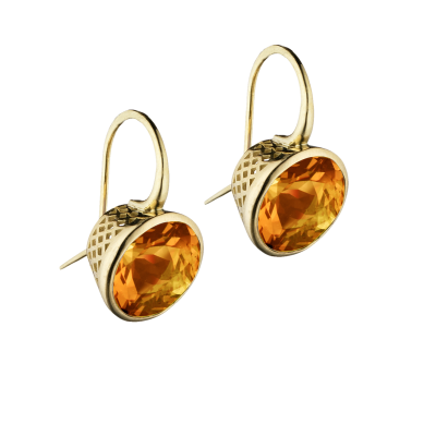 18k yellow gold crownwork bezel set 12mm Madiera citrine earrings on hook.