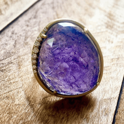 Tanzanite Ring D: .09 18K Yellow Gold: 25.13