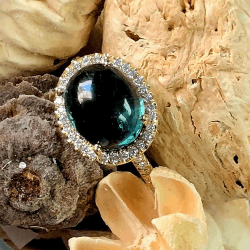 Closeup image for View Oval Boulder Opal Sophie Ring (As Pictured In Center) By Lauren K