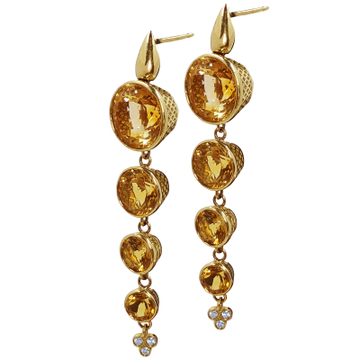 18k yellow gold earrings on post with cascading 12mm, 9mm, 7mm, and 6mm crownword bezel set citrines and triple diamond drop. DIA: 0.13cts