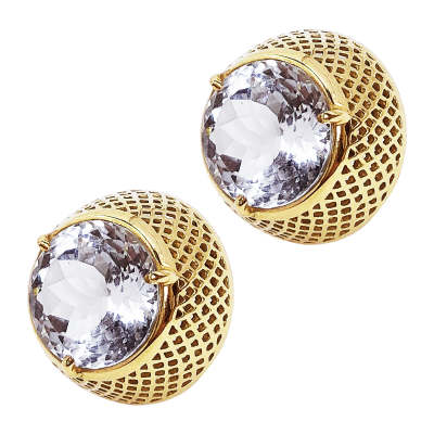 18k yellow gold dome stud with 12mm round center white topaz (14.65cts)