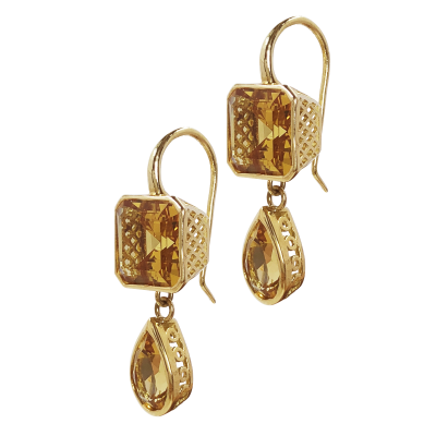 18k yellow gold 9mm crownwork square with 6.9 crownwork pear shape citrine drops on hooks (9cts total)