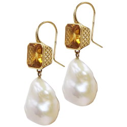 Closeup image for View 18K Crownwork Drop Earrings With Citrine By Ray Griffiths