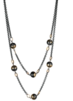 18k yellow gold and oxidized silver crownwork ball wrap necklace (6-12mm balls) with 18k yellow gold crownwork links on an oxidized silver cable chain with a lilypad clasp.