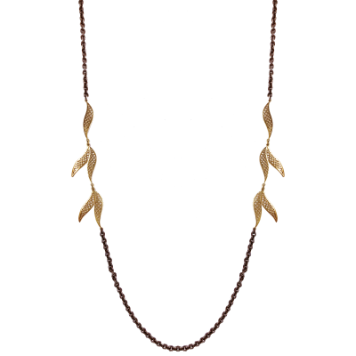 18k yellow gold crownwork curved wave link and oxidized silver cable chain necklace.