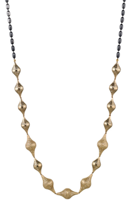 18k Yellow gold 14 graduated finials necklace with oxidized silver olive chain and lilypad clasp.