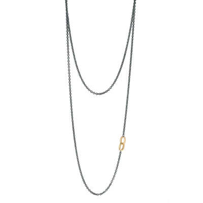 Double wrap necklace with two 18k yellow gold crownwork cable links on an oxidized silver cable chain. 54""