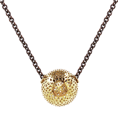 18k yellow gold crownwork ball (15mm) on an oxidized silver cable chain. 23""