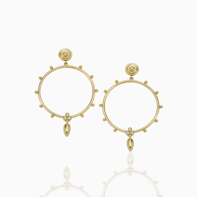 18K Circle Anfora Earrings - Temple St. Clair