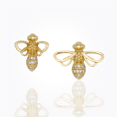 18K Bee Earrings - Temple St. Clair