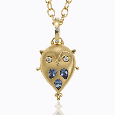 18K Small Owl Locket with tanzanite and diamond - Temple St. Clair
