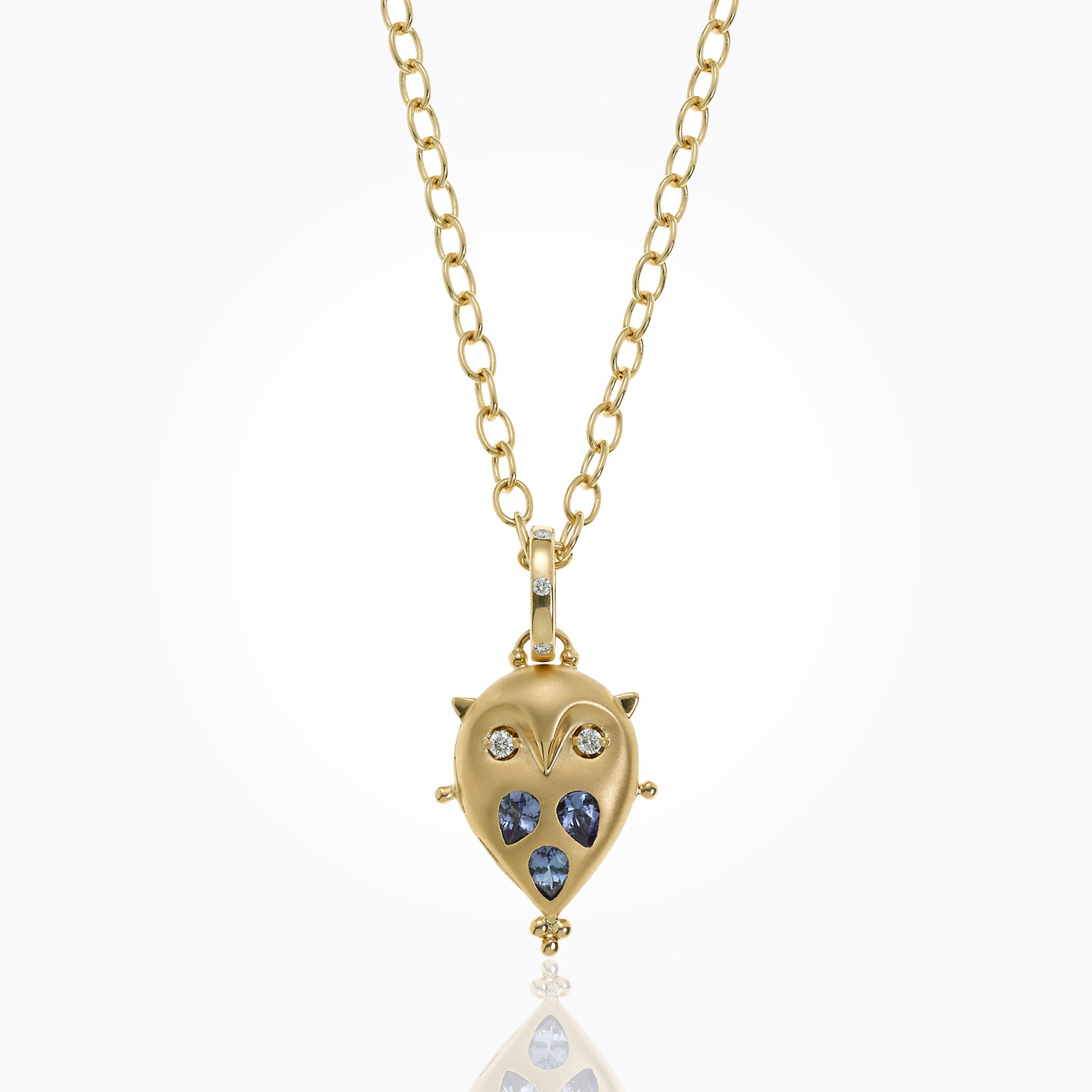 18K Small Owl Locket with tanzanite and diamond - alternate