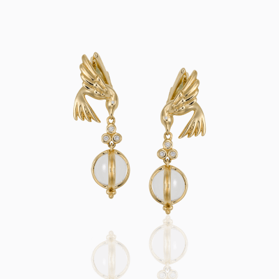 18K Bird Earrings with Crystal Drop - Temple St. Clair