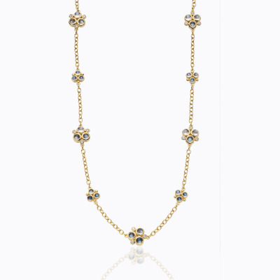 18K Trio Necklace with Royal Blue Moonstone and Diamond pave -Dimensions: L: 18'' Stone Details: Blue Moonstone:7.02cts; diamonds:1.296cts