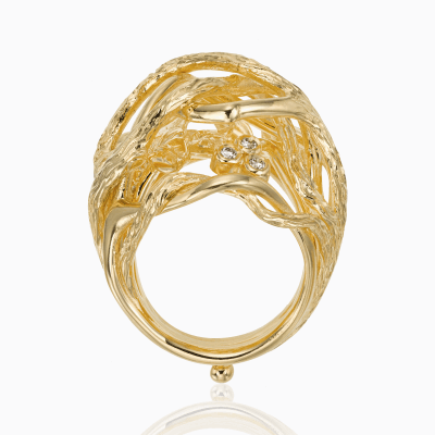 18K Branch Ring with diamond - Temple St. Clair