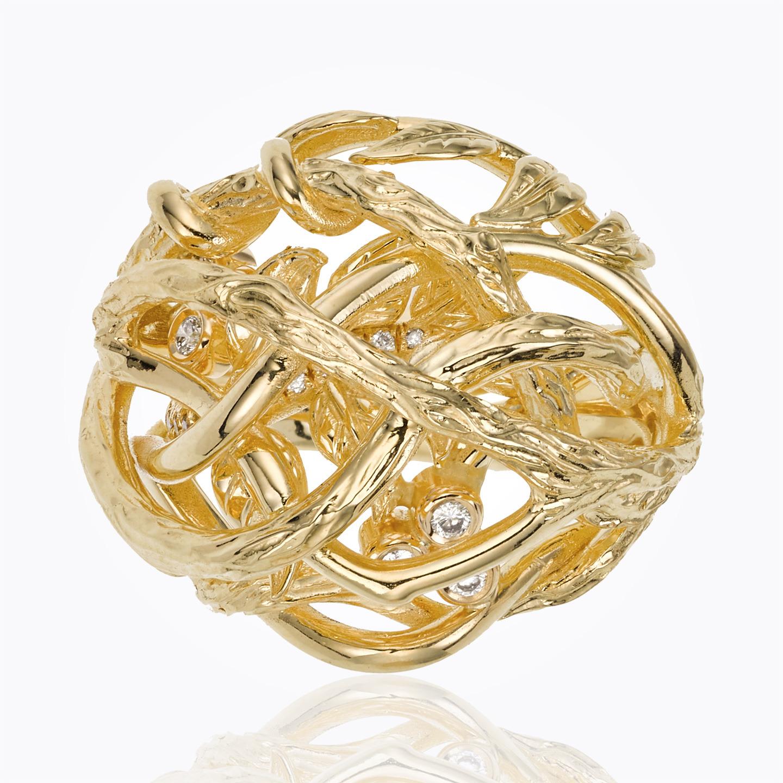 18K Branch Ring with Diamond - alternate