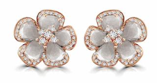 Grey diamond slice flower with white diamond earrings in 18k rose gold. DIA: 2.69