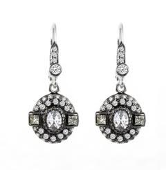 18K white gold rose cut diamond in antique style dangle earrings. DIA: 0.67cts