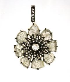 Gray Diamond Slice Flower Pendent In 18K. DIA: 7.84