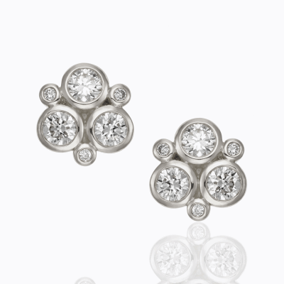 18K White Gold Classic Trio Earring in diamond - Temple St. Clair