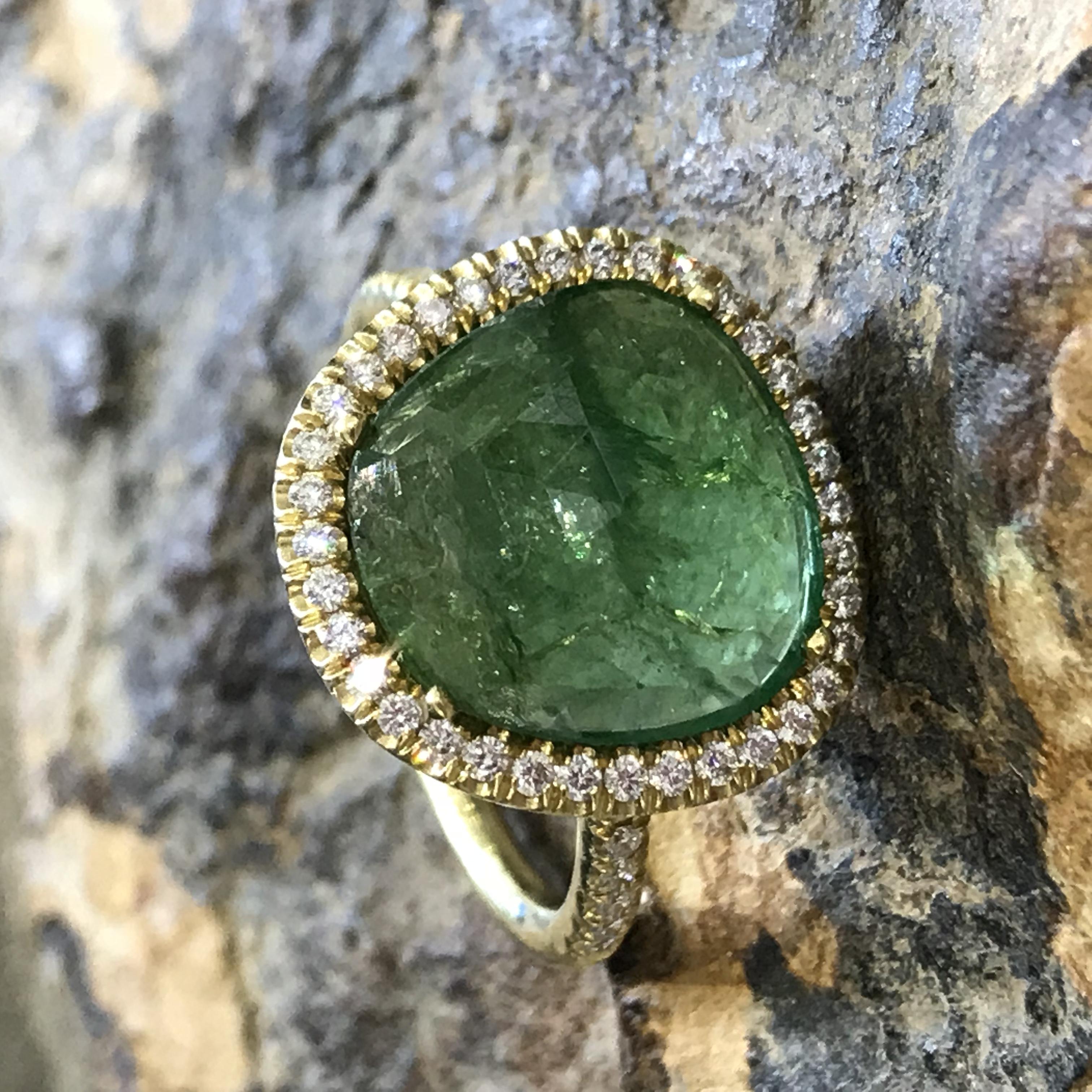Tsavorite Mischa Ring with Diamond - alternate