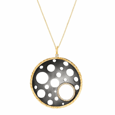 Inspired by the gears of a watch, the Melting Time Pendant's openings and undulating shape allude to the concept of time melting away.   Available in 18 karat yellow gold and blackened silver with a micropavé - set halo around the pendant's largest open space.  This pendant also suspends from an 18 karat gold and diamond bale, on an 18 karat yellow gold 18'' chain.    4.5cm in diameter and 1cm deep.  Diamond approx. 0.28 tcw Made in New York City from the world's finest materials and ethically-sourced diamonds. Please allow 3-4 weeks for your order to reach you, as it will be created just for you.
