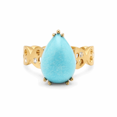 "Soft and quietly bold, this one-of-a-kind pear-shaped cabochon turquoise ring makes a soft, quietly bold statement. Its elegantly tapered band consists of matte yellow gold ""coins,"" adorned with open space and tiny sparkling diamonds. Underneath the turquoise is a raised setting which highlights the beauty of the stone's shape, adding even more height and impact, and a surprise of light shining through that can only be seen from the side. This leaves a secret between the owner and this cocktail ring that you will want to wear every day!   Available in 18 karat yellow gold with a turquoise 7 carat turquoise from the North American southwest's now closed Sleeping Beauty mine. Diamonds total carat weight is approximately .15ct. 8g. Stone: 16mm length x 1.5mm width x 12.3mm height off finger. Made in New York City from the world's finest, ethically-sourced materials and gemstones. Available to ship within 1-2 business days if the ring does not require resizing, or within 8 days if the piece requires sizing. Ring is in stock in a size 7 1/2 but can be resized.Please allow two weeks for the piece to arrive if sizing is required."