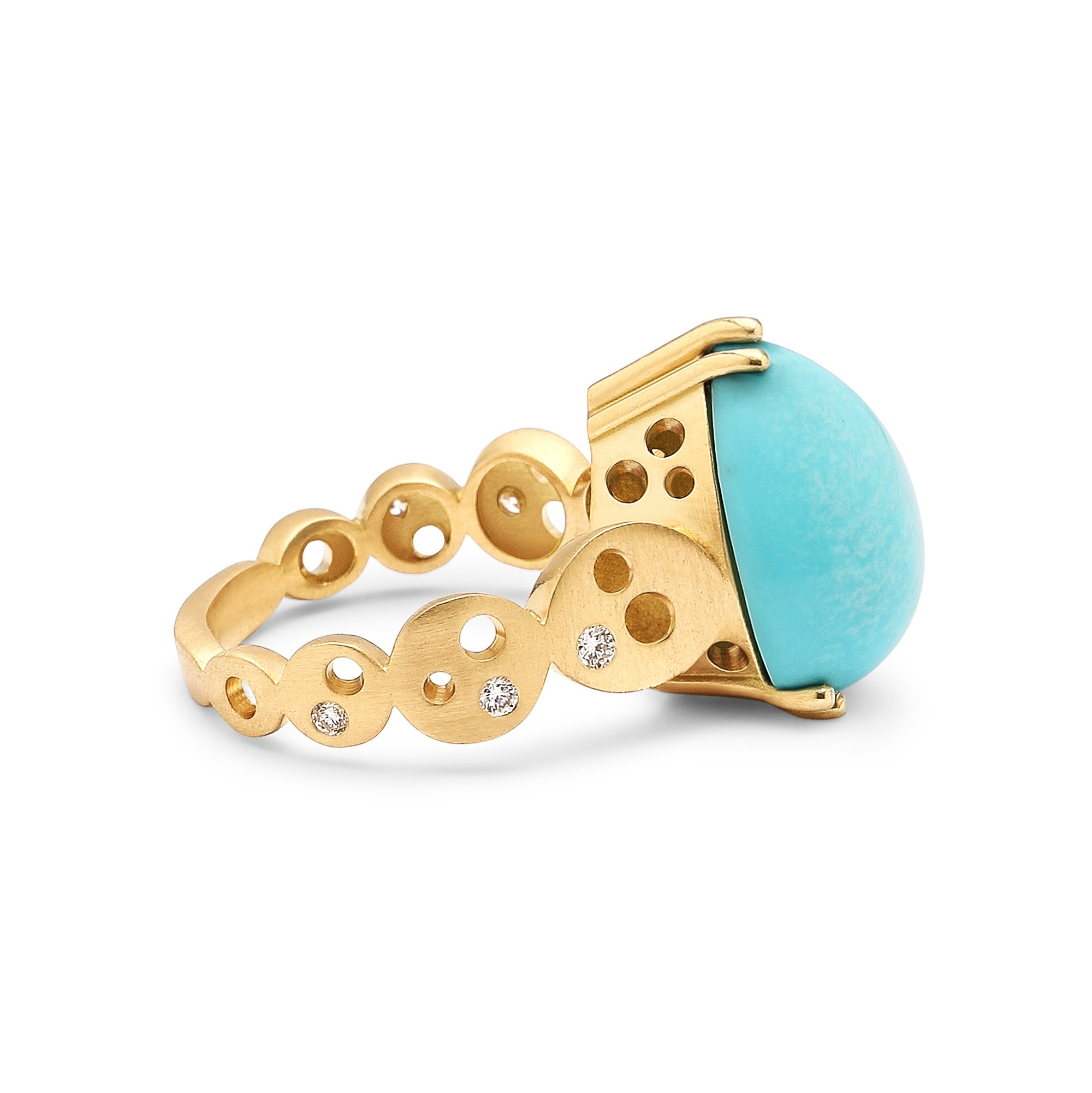 Pear-Shaped Sleeping Beauty Turquoise & Coin Band Ring - alternate