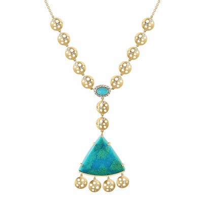 "This colorful and playful design speaks volumes to the woman who looks for and appreciates one of a kind pieces. This necklace features two unique chrysocolla stones that can not be replicated, and are perfectly held by 18k yellow gold plates. But its beauty and detail doesn't stop there, it also features coin-shaped charms down the adjustable chain, which offers flexibility to be worn with different necklines. A true stunner!  18K Yellow Gold, Matte, Chrysocolla Diamonds (approx. .64 carat) Adjustable 26"" 18k yellow gold (up to 18"") chain. 25g , 60mm from small (5mm wide x 4mm long x 7.3mm thick) Chrysocolla to bottom coins. Fan shaped Chrysocolla 2.7 wide x 2.5 long x 6mm thick. Made in New York City from the world's finest materials and ethically-sourced stones.  A one-a-kind piece!"