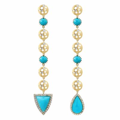 Color and symmetry are the first two things you might notice at a first glance when look at these drop earrings. They are beautifully formed by round discs punctured with circular openings and adorned by sprinkled white diamonds, alternating with circular chrysocolla stones. They are bold yet light, and the colored stones are one of a kind, and manage to sneak a surprise at the bottom by being magically and complimentary mismatched.   18K Yellow Gold, Matte, Chrysocolla (approx. 8 carat)  Diamonds (approx. .5 carat) 10g, 8cm long. Triangular shaped chrysocolla 9mm wide x 12mm long x 5.4 thick. Pear shaped chrysocolla 8mm wide x 13mm long x 6.7mm thick. Made in New York City from the world's finest materials and ethically-sourced stones.  A one-of-a-kind piece!