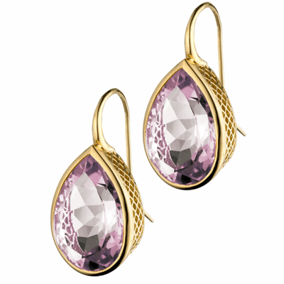 18k Yellow Gold 13x18mm Rose De France pear shape crownwork bezel-drops on tapered hook.