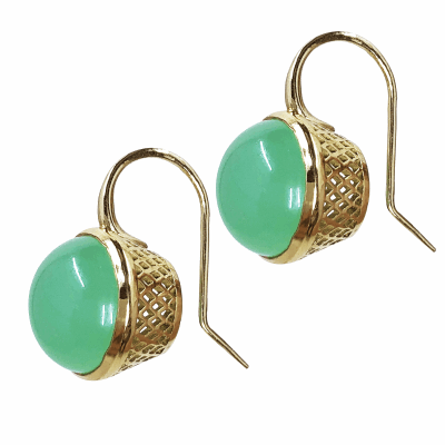 18k Yellow Gold 12mm Chrysoprase set basket on hook
