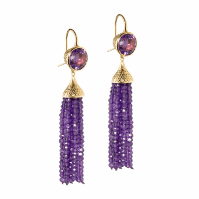 18k Yellow Gold crownwork set Amethyst earrings with Amethyst tassels
