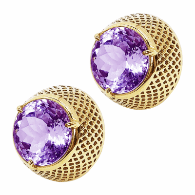 18k Yellow Gold Dome Stud with 12mm round center amethyst