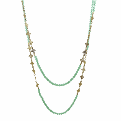 18k Yellow Gold clover leaf and chrysophrase triple wrap necklace with lilypad clasp