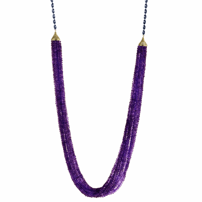 18k Yellow Gold Crownwork small finials and lilypad clasp on oxidized silver olive chain with multi-strand Amethyst
