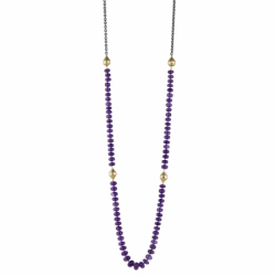 Closeup image for View Amethyst On A Oxidized Silver Olive Chain By Ray Griffiths