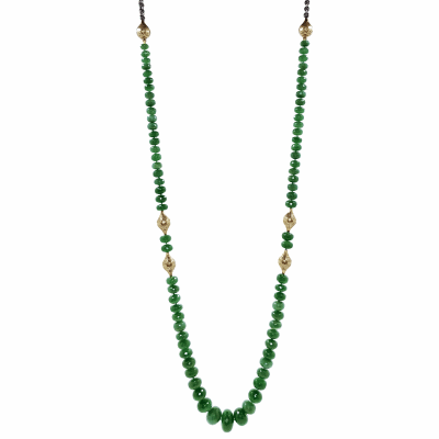 18K Crownwork finials with green onyx beads strung on an oxidized silver chain with a lily pad clasp.