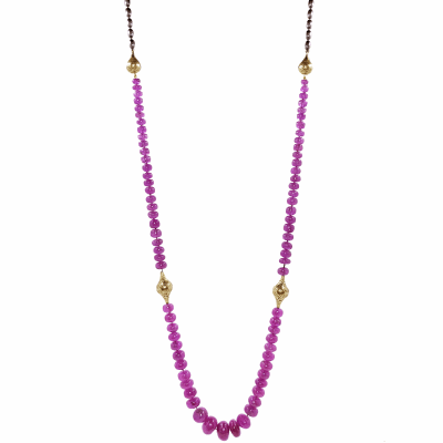 18k Crownwork finials with Pink Sapphire beads on an oxidized sterling chain. Pink Sapphire: 405cts