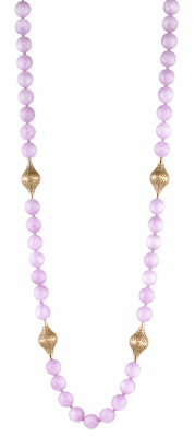 Kunzite bead necklace feturing 4 18k yellow gold medium finials and lily pad clasp