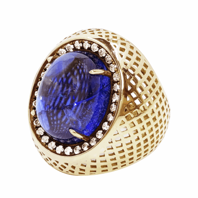 18k Yellow Gold large crownwork signet ring set with claw set tanzanite and pave white diamond surround. Tanzanite: 13.70cts DIA: 0.35cts